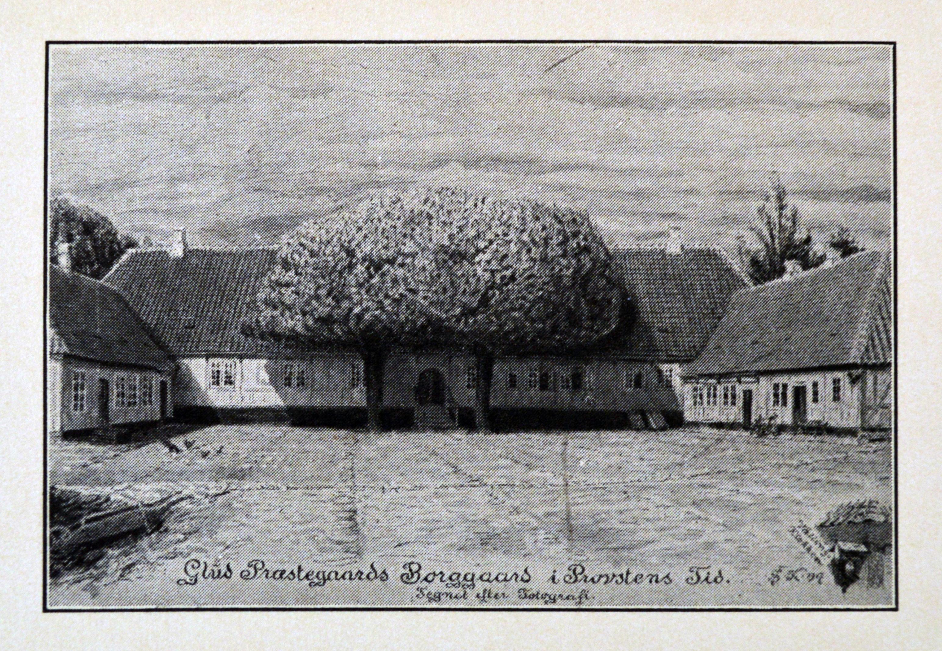 Glud præstegård - tegnet af Søren Knudsen.